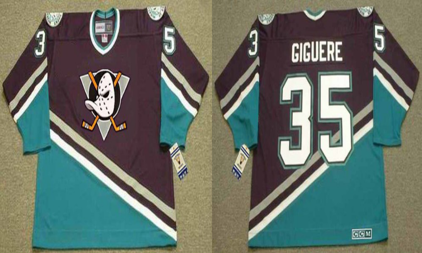 2019 Men Anaheim Ducks 35 Giguere black style 2 CCM NHL jerseys
