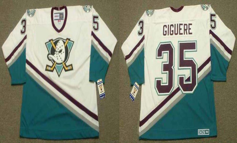 2019 Men Anaheim Ducks 35 Giguere white CCM NHL jerseys