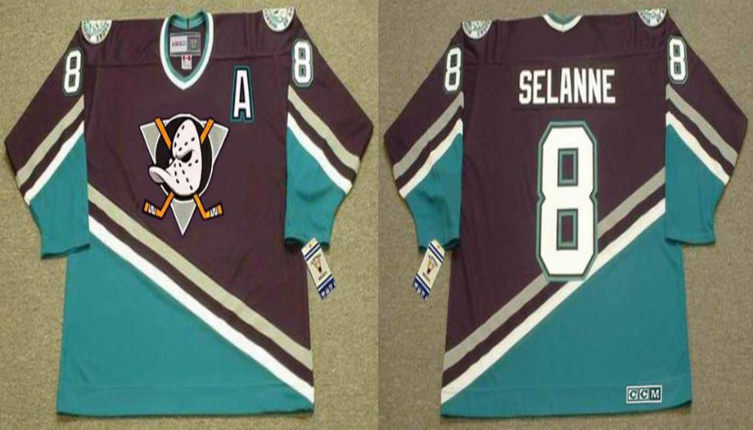 2019 Men Anaheim Ducks 8 Selanne black CCM NHL jerseys