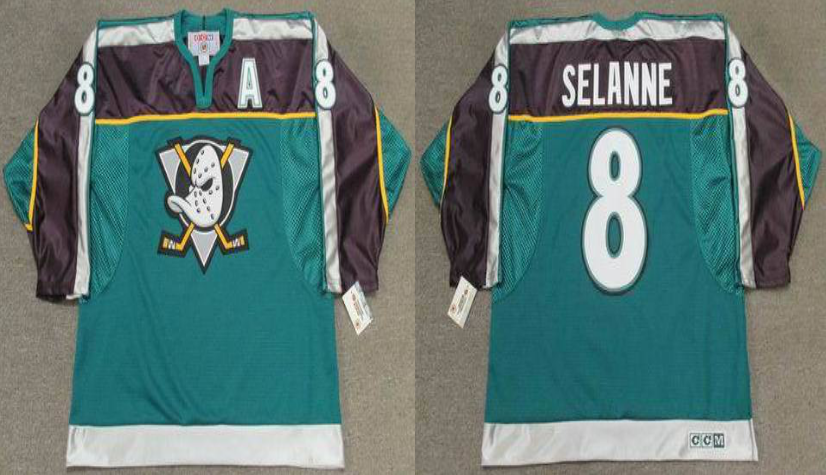 2019 Men Anaheim Ducks 8 Selanne green style 2 CCM NHL jerseys