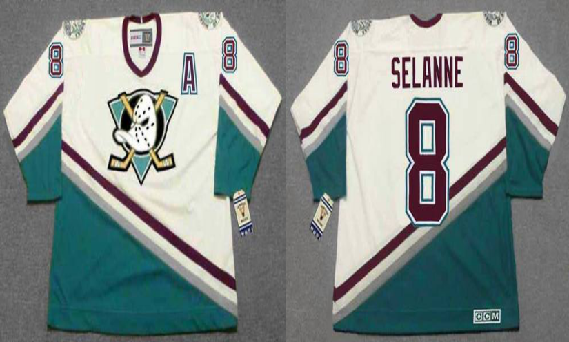 2019 Men Anaheim Ducks 8 Selanne white CCM NHL jerseys