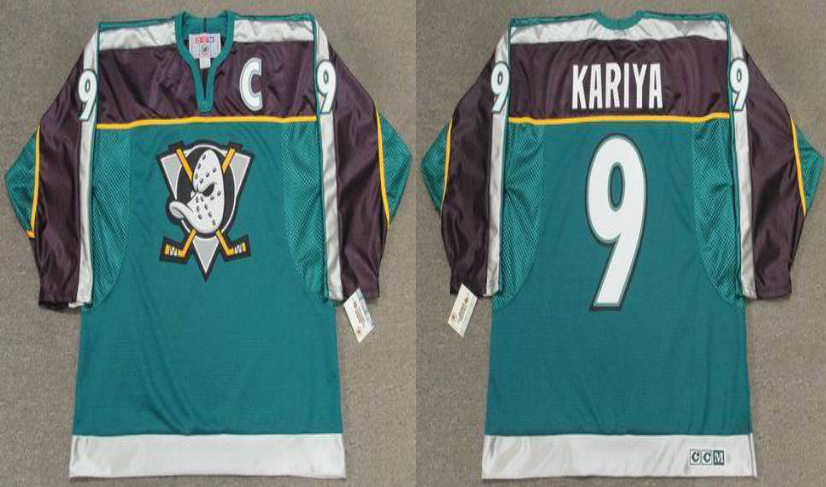 2019 Men Anaheim Ducks 9 Kariya green style 2 CCM NHL jerseys
