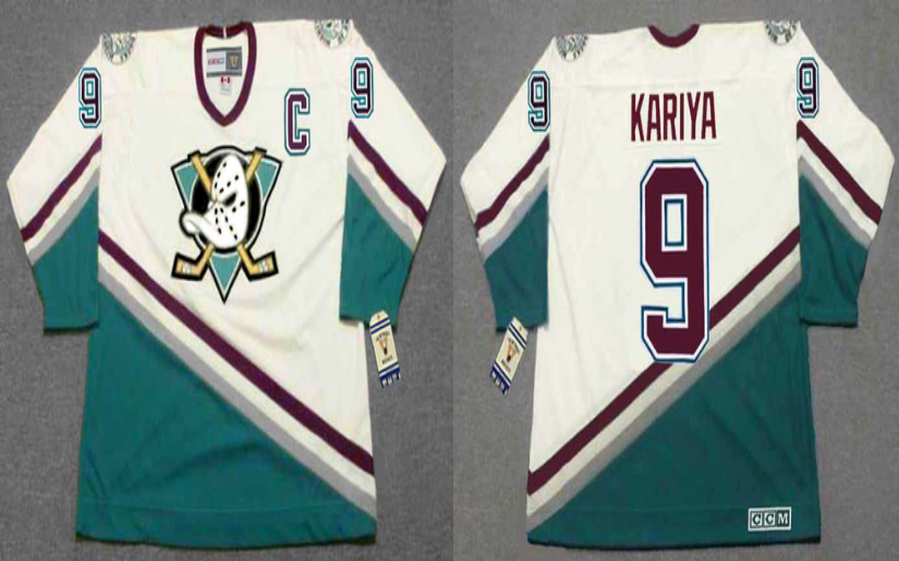 2019 Men Anaheim Ducks 9 Kariya white CCM NHL jerseys