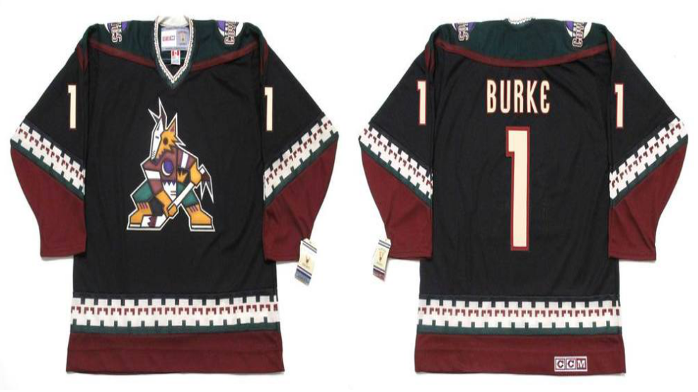 2019 Men Arizona Coyotes 1 Burke black CCM NHL jerseys