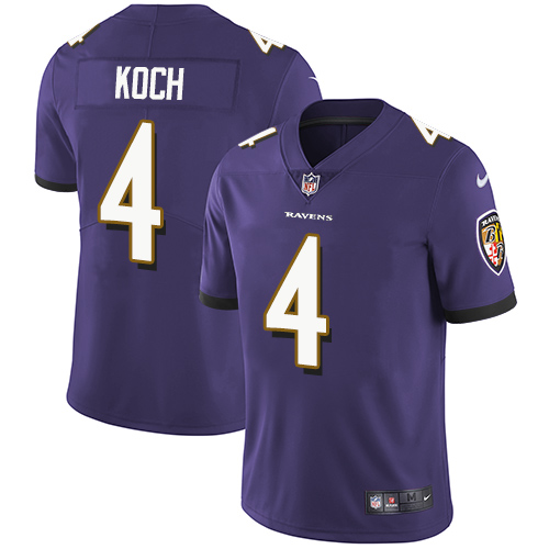 2019 Men Baltimore Ravens 4 Koch purple Nike Vapor Untouchable Limited NFL Jersey