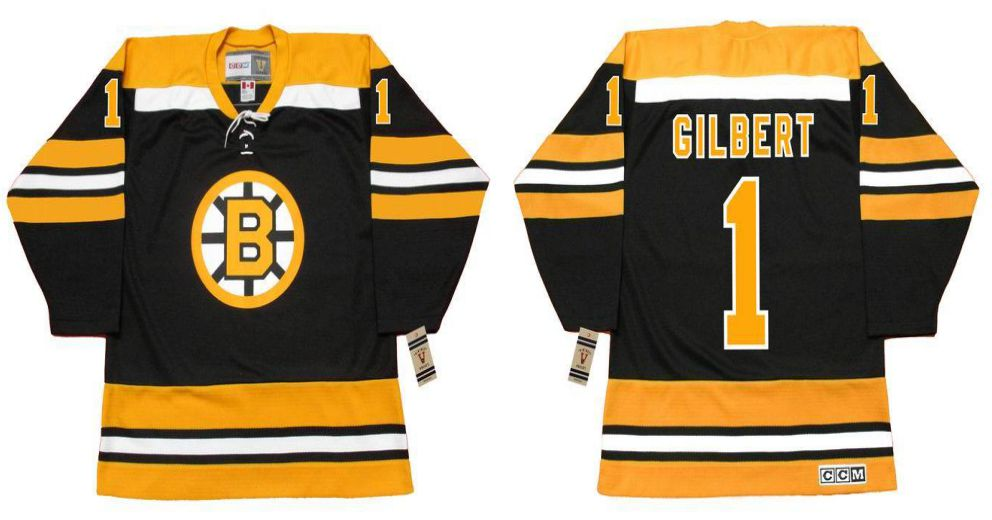 2019 Men Boston Bruins 1 Gilbert Black CCM NHL jerseys