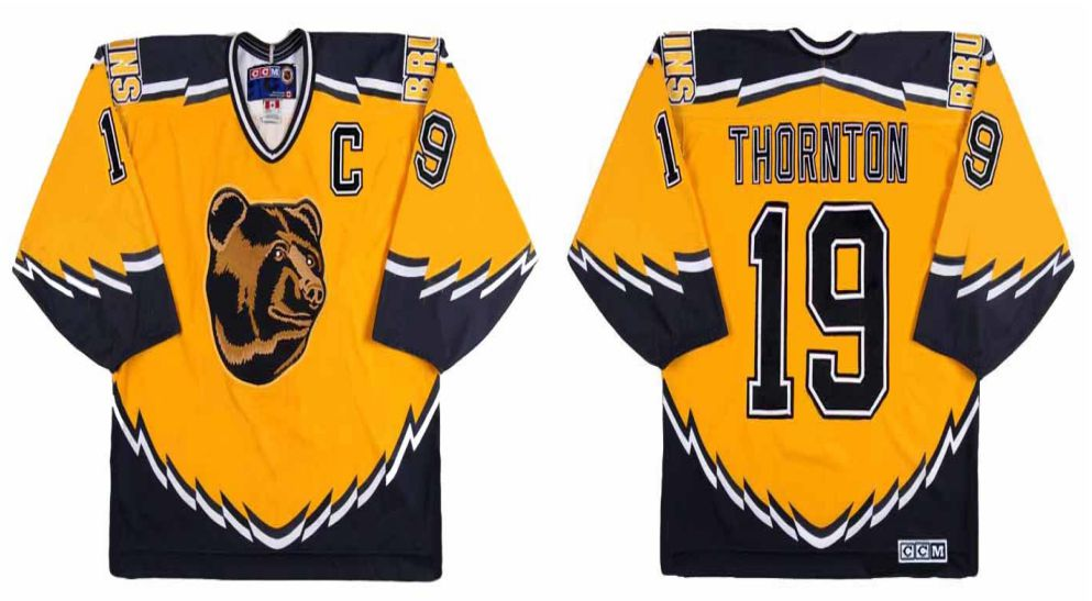 2019 Men Boston Bruins 19 Thornton Yellow CCM NHL jerseys