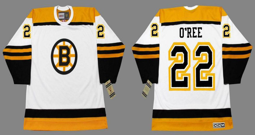 2019 Men Boston Bruins 22 Oree White CCM NHL jerseys