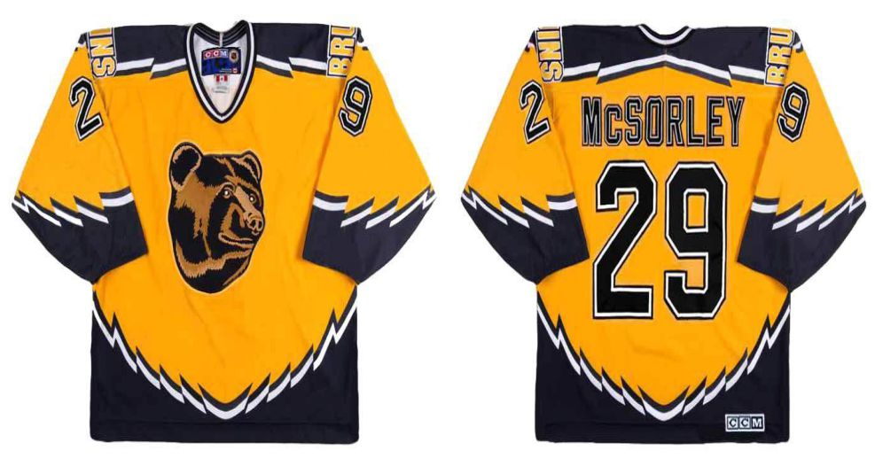 2019 Men Boston Bruins 29 Mcsorley Yellow CCM NHL jerseys