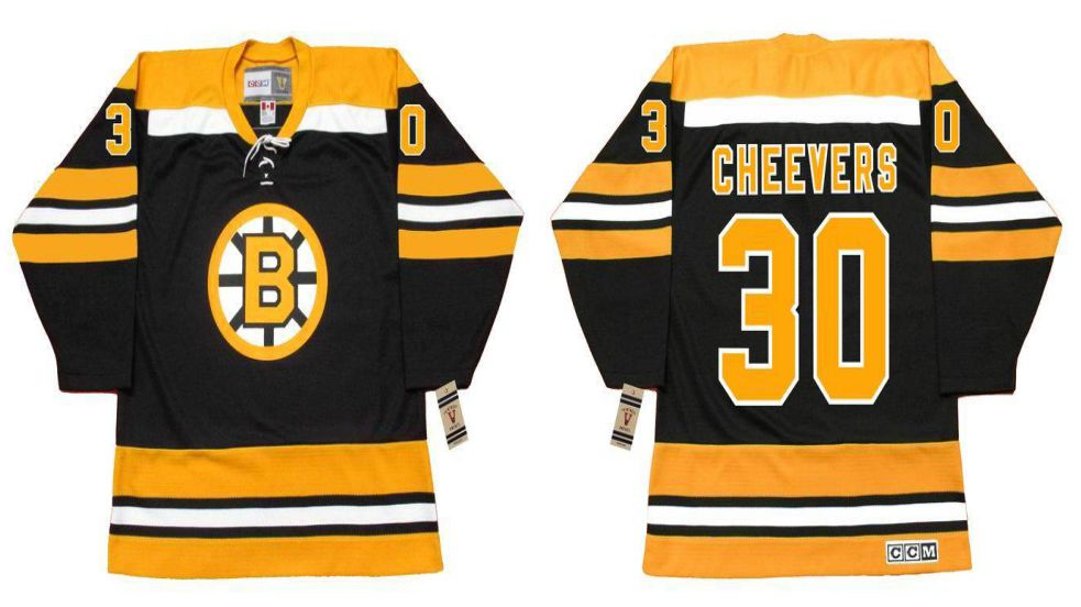 2019 Men Boston Bruins 30 Cheevers Black CCM NHL jerseys
