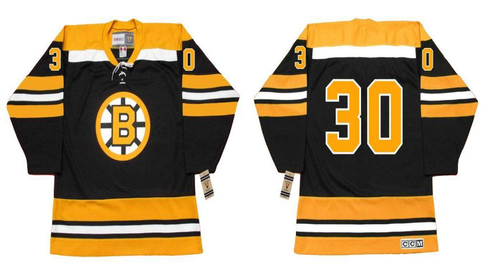 2019 Men Boston Bruins 30 Cheevers Black CCM NHL jerseys1