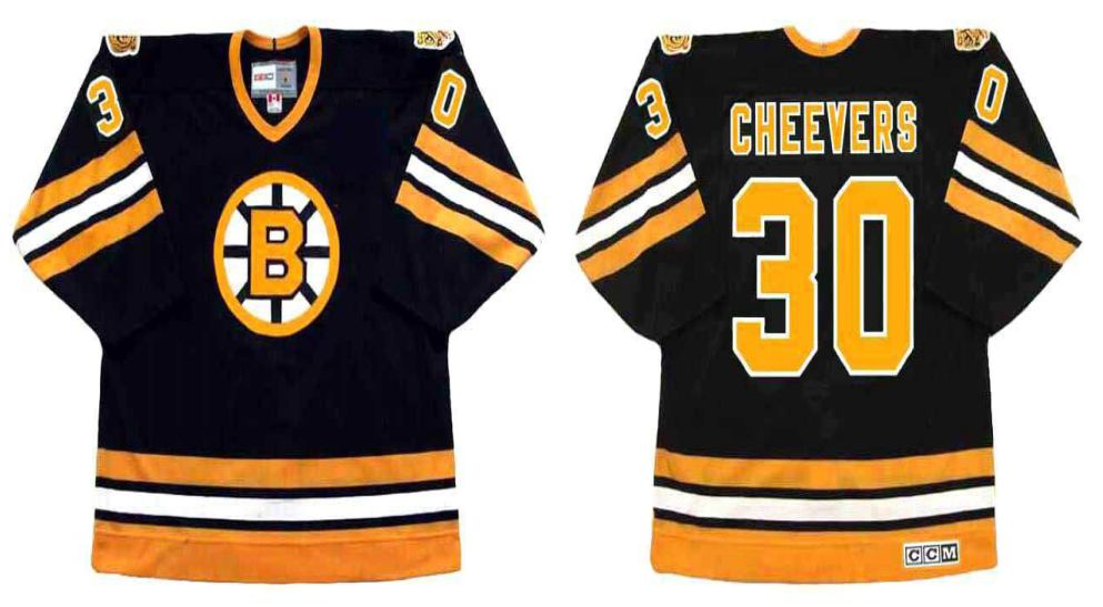 2019 Men Boston Bruins 30 Cheevers Black CCM NHL jerseys2