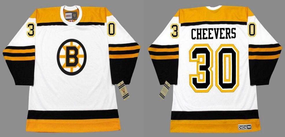 2019 Men Boston Bruins 30 Cheevers White CCM NHL jerseys