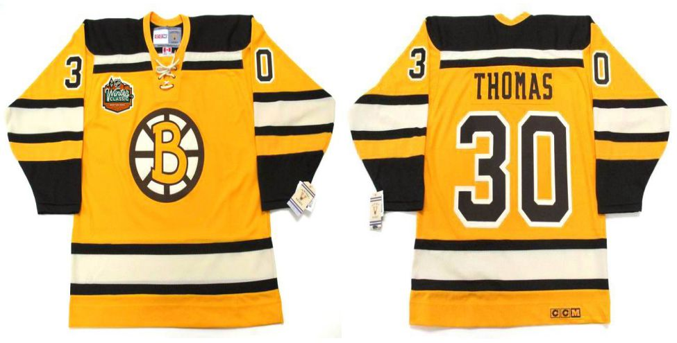 2019 Men Boston Bruins 30 Thomas Yellow CCM NHL jerseys