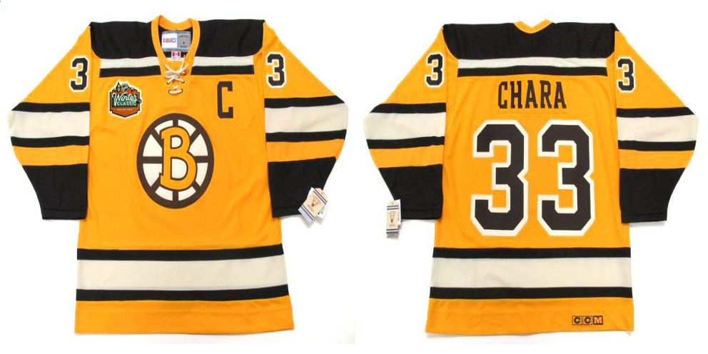 2019 Men Boston Bruins 33 Chara Yellow CCM NHL jerseys