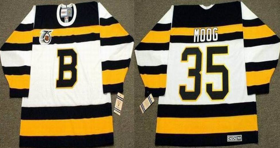 2019 Men Boston Bruins 35 Moog White CCM NHL jerseys