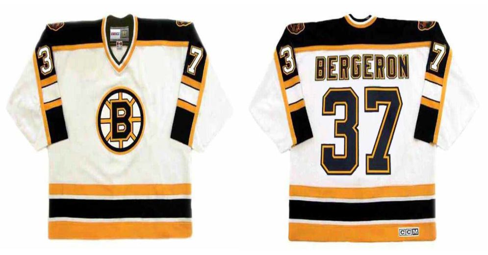 2019 Men Boston Bruins 37 Bergeron White CCM NHL jerseys