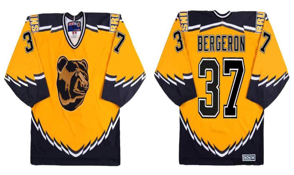 2019 Men Boston Bruins 37 Bergeron Yellow CCM NHL jerseys