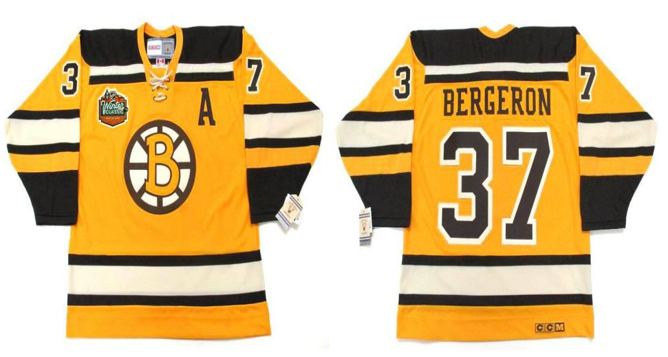 2019 Men Boston Bruins 37 Bergeron Yellow CCM NHL jerseys1