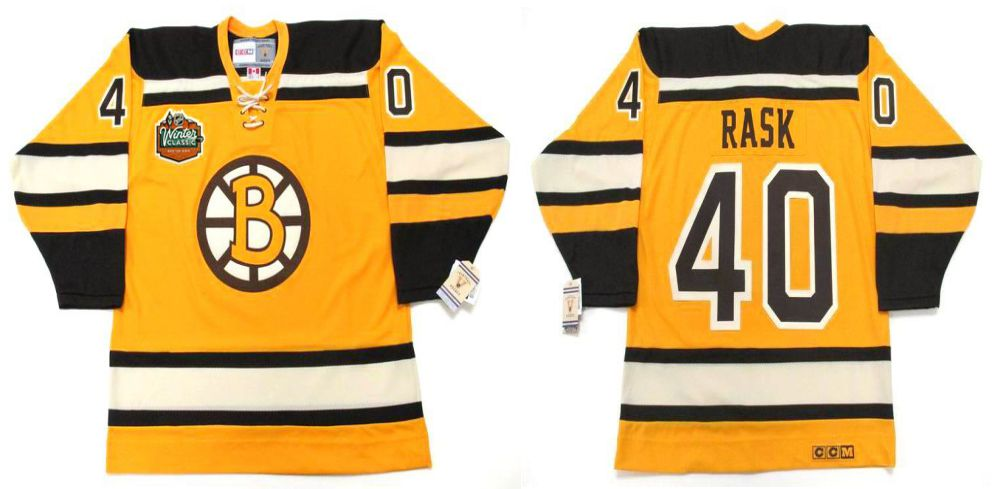 2019 Men Boston Bruins 40 Rask Yellow CCM NHL jerseys
