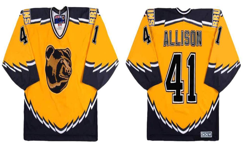 2019 Men Boston Bruins 41 Allison Yellow CCM NHL jerseys