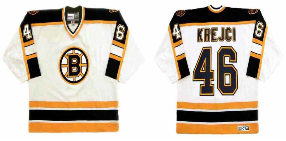 2019 Men Boston Bruins 46 Krejci White CCM NHL jerseys