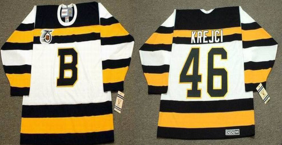 2019 Men Boston Bruins 46 Krejci White CCM NHL jerseys1