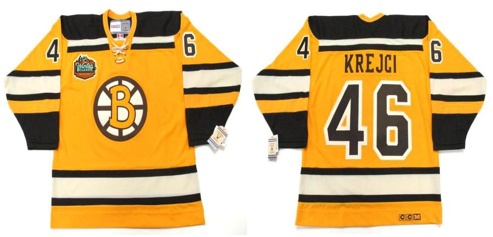 2019 Men Boston Bruins 46 Krejci Yellow CCM NHL jerseys