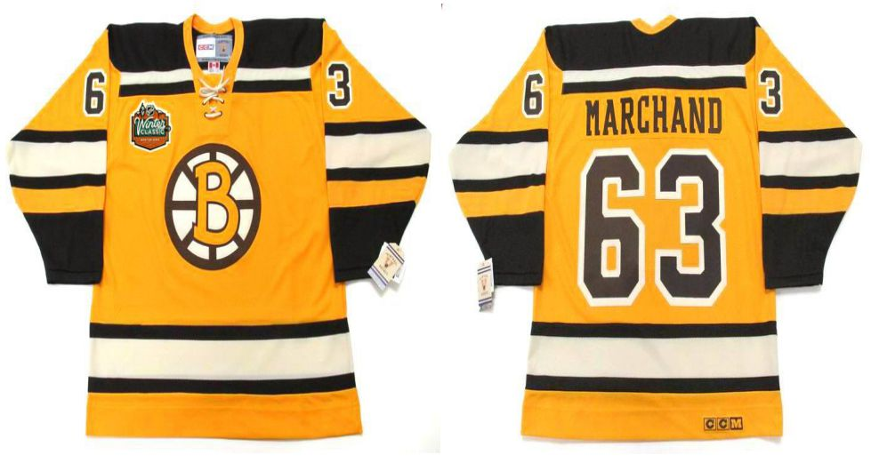 2019 Men Boston Bruins 63 Marchand Yellow CCM NHL jerseys