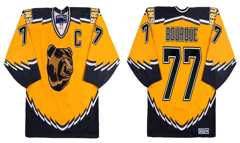 2019 Men Boston Bruins 77 Bouroue Yellow CCM NHL jerseys