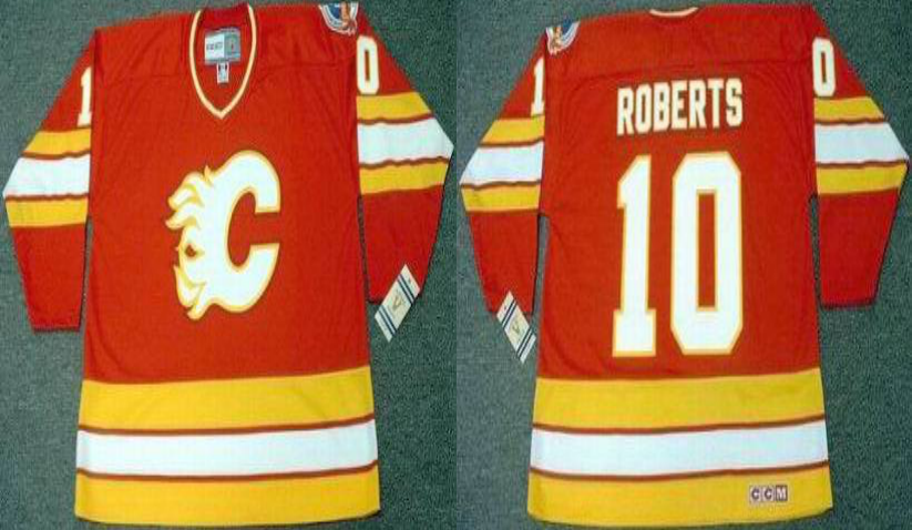 2019 Men Calgary Flames 10 Roberts red CCM NHL jerseys