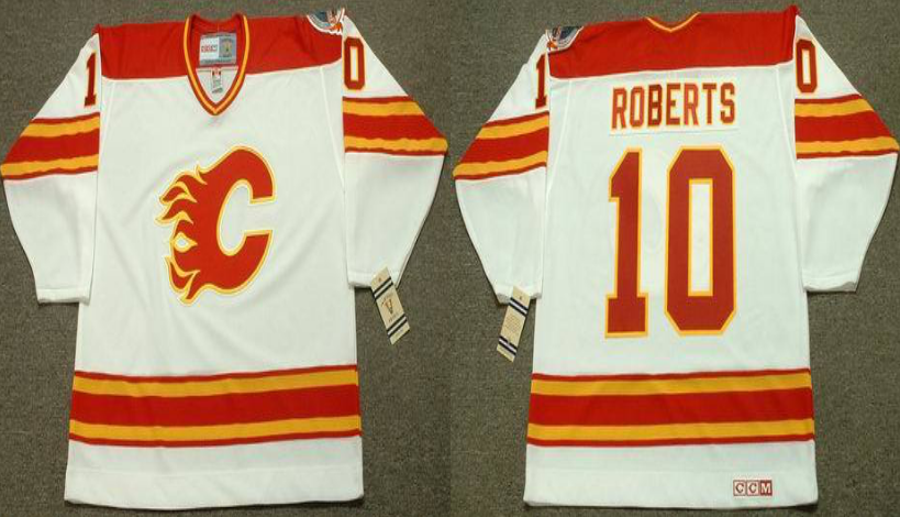 2019 Men Calgary Flames 10 Roberts white CCM NHL jerseys