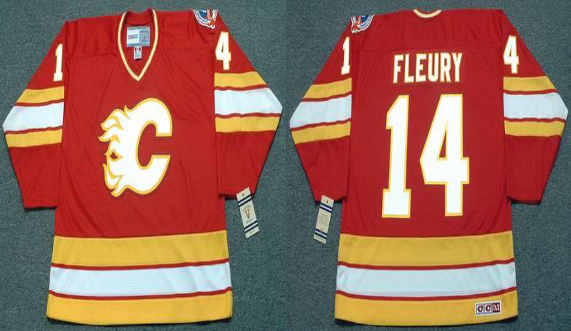 2019 Men Calgary Flames 14 Fleury red CCM NHL jerseys
