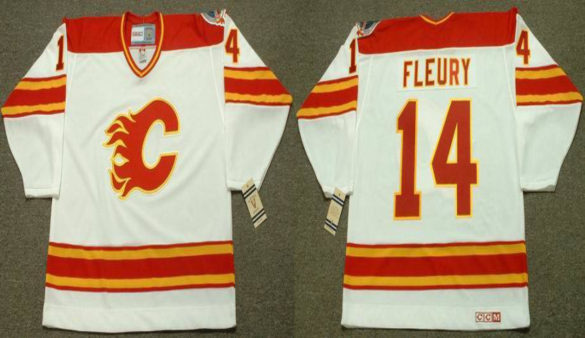 2019 Men Calgary Flames 14 Fleury white CCM NHL jerseys