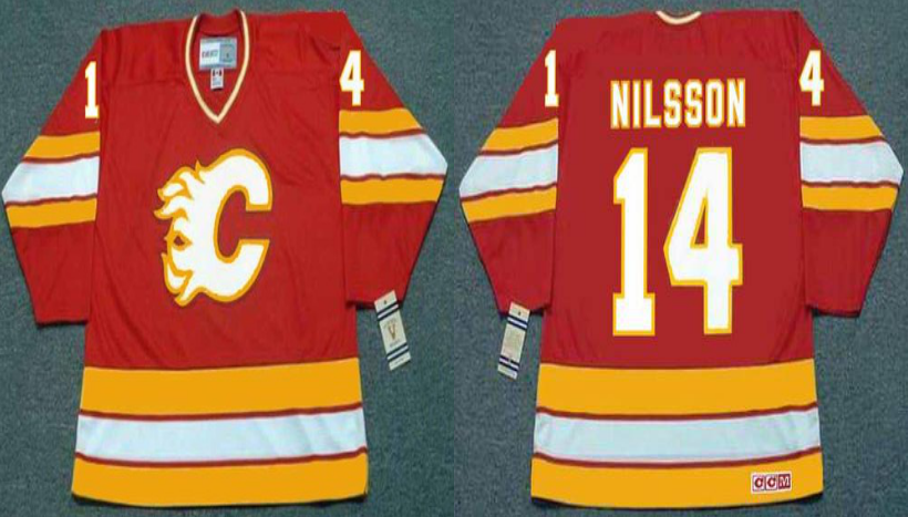 2019 Men Calgary Flames 14 Nilsson red CCM NHL jerseys