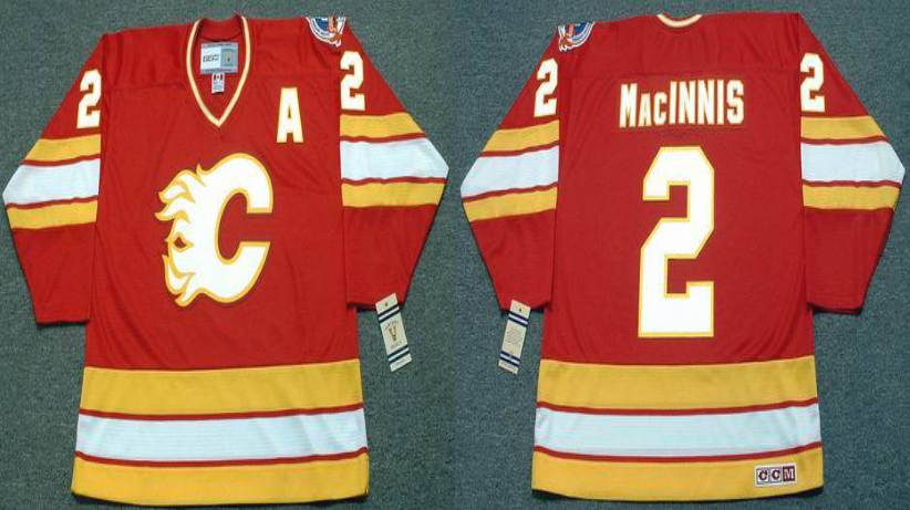 2019 Men Calgary Flames 2 Macinnis red CCM NHL jerseys