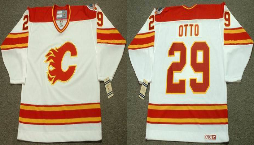 2019 Men Calgary Flames 29 Otto white CCM NHL jerseys