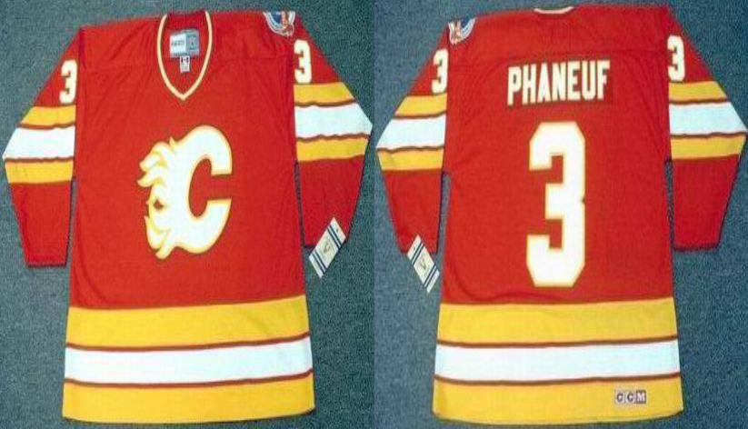 2019 Men Calgary Flames 3 Phaneuf red CCM NHL jerseys