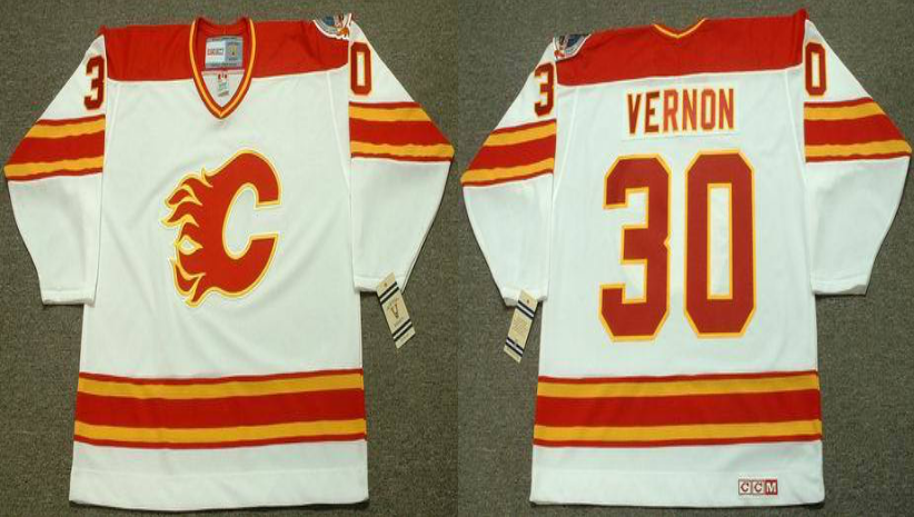2019 Men Calgary Flames 30 Vernon white CCM NHL jerseys
