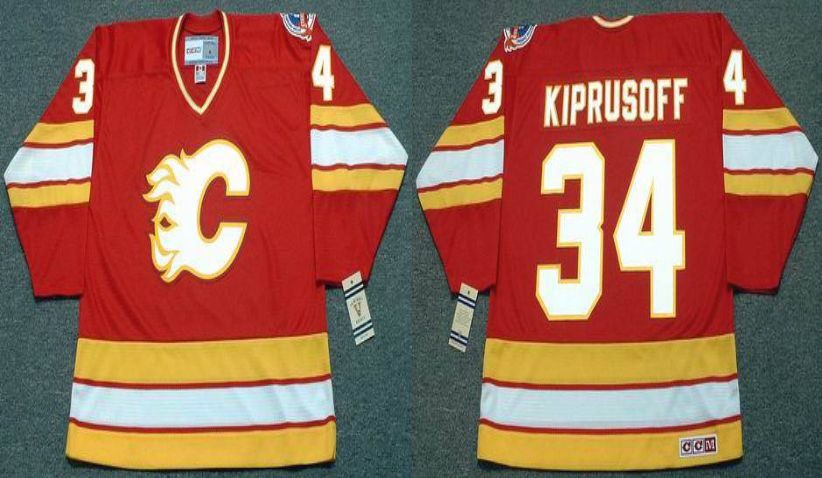 2019 Men Calgary Flames 34 Kiprusoff red CCM NHL jerseys