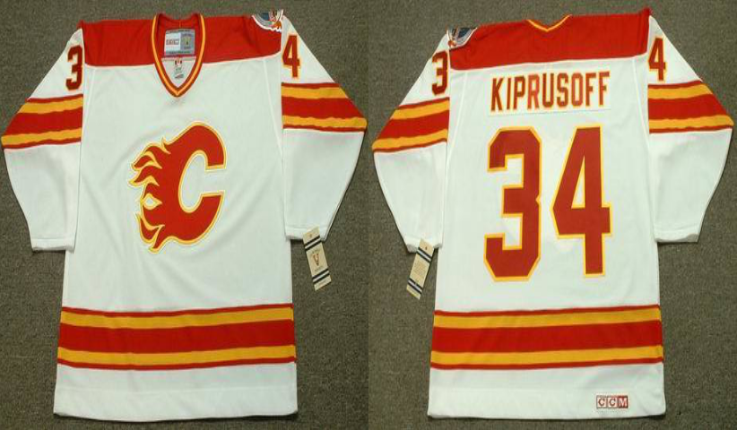 2019 Men Calgary Flames 34 Kiprusoff white CCM NHL jerseys