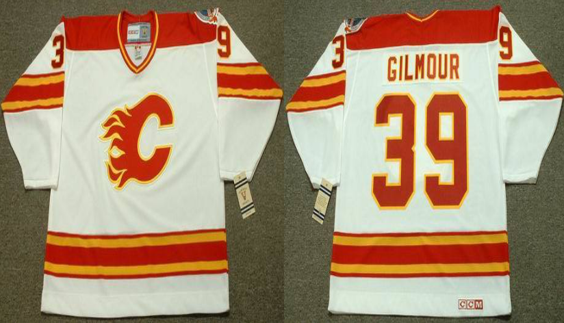 2019 Men Calgary Flames 39 Gilmour white CCM NHL jerseys