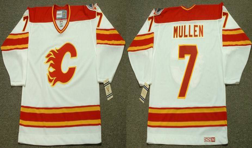 2019 Men Calgary Flames 7 Mullen white CCM NHL jerseys