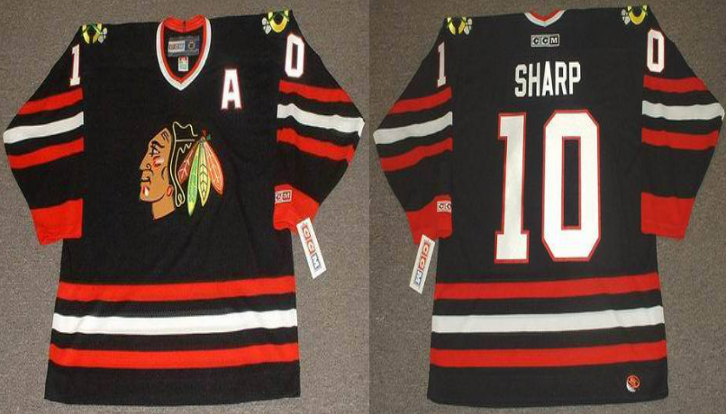 2019 Men Chicago Blackhawks 10 Sharp black CCM NHL jerseys