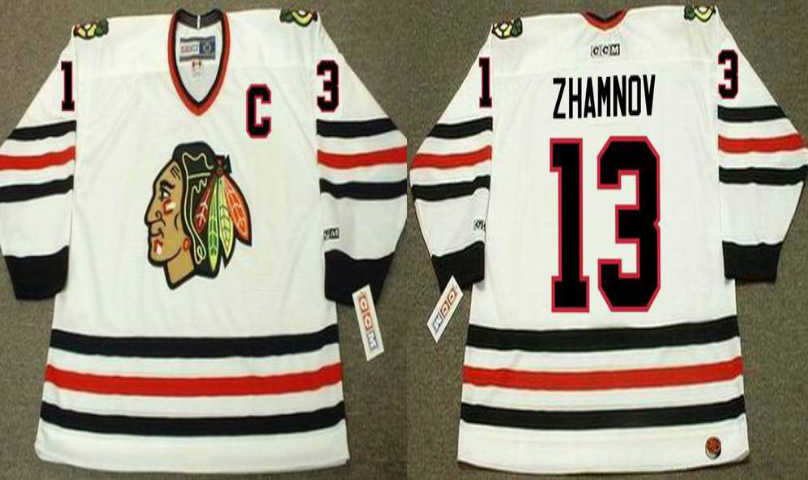 2019 Men Chicago Blackhawks 13 Zhamnov white CCM NHL jerseys