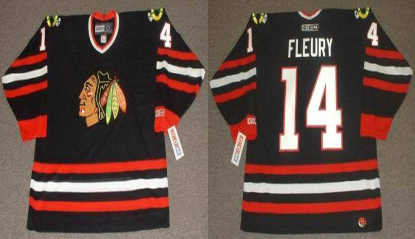 2019 Men Chicago Blackhawks 14 Fleury black CCM NHL jerseys