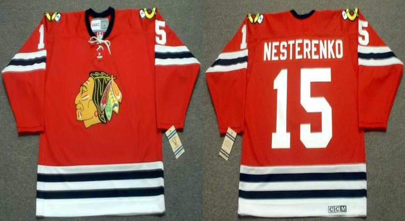 2019 Men Chicago Blackhawks 15 Nesterenko red CCM NHL jerseys
