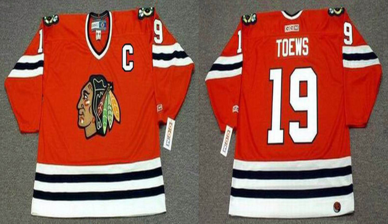 2019 Men Chicago Blackhawks 19 Toews red style 2 CCM NHL jerseys