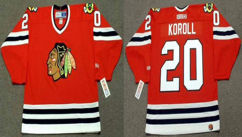 2019 Men Chicago Blackhawks 20 Koroll red CCM NHL jerseys