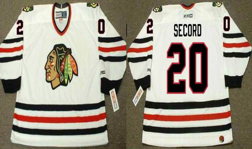 2019 Men Chicago Blackhawks 20 Secord white CCM NHL jerseys